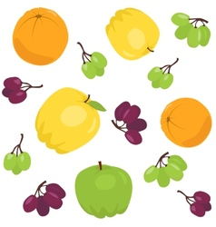 Seamless pattern with apples and grapes vector image