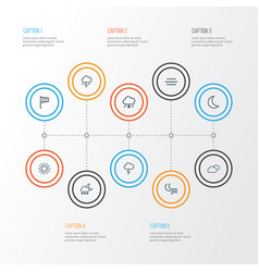 Weather outline icons set collection of windsock vector