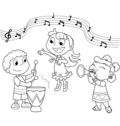 Young music band vector image