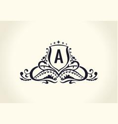 calligraphic luxury line flourishes elegant emblem vector image vector image