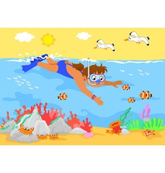 cartoon girl underwater vector image vector image