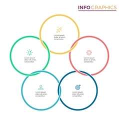 Connected circles for infographics Chart with 5 vector image vector image