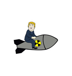donald trump control nuclear missile flat design vector image