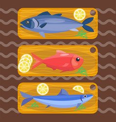 fish on kitchen wooden chopping board fresh lemon vector image