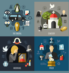 funeral concept icons set vector image vector image