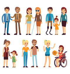 happy disabled people in sport and social vector image
