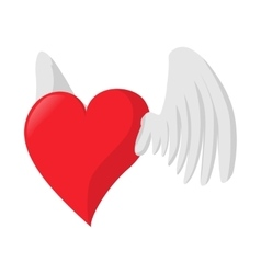 Heart with wings love cartoon icon vector image