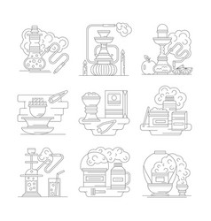 hookah accessories line detailed icons set vector image vector image