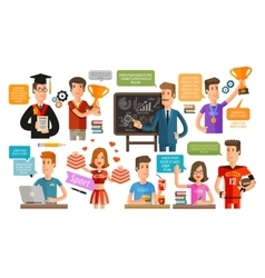 School College or student teacher set of icons vector image vector image