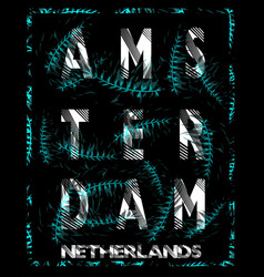 amsterdam typography design with flowers vector image vector image