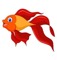 Cute golden fish cartoon vector image vector image