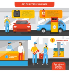 Gas Station Workers Banners Set vector image vector image