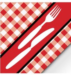 gingham menu card vector image vector image