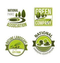 green nature landscape design icons set vector image