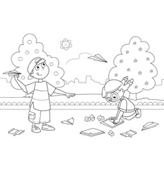 Kids playing with paper airplanes vector image vector image