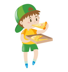 little boy eating pizza vector image vector image