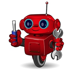 Red robot with tool vector image