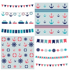 sea theme garland and patterns vector image vector image