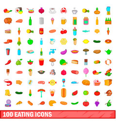 100 eating icons set cartoon style vector image vector image