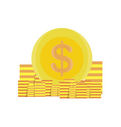 coins money gold design icon bank business vector image vector image