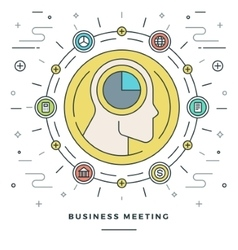 Flat line Business Meeting and Analysis Concept vector image