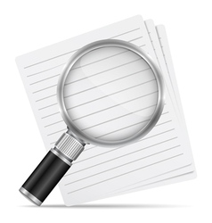 Magnifying glass with abstract paper documents vector image