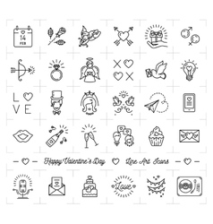 Valentine icon set flat design line thin style vector image