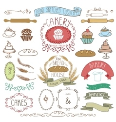 Vintage Bakery Labels element setHand sketched vector image