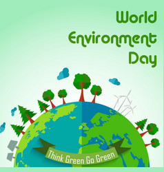 world environment day concept earth globe backgrou vector image vector image