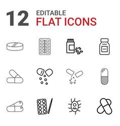 12 capsule icons vector