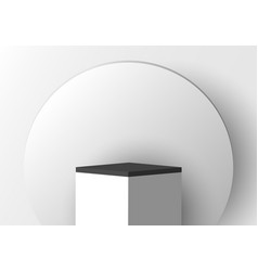 3d realistic white pedestal with black border vector image