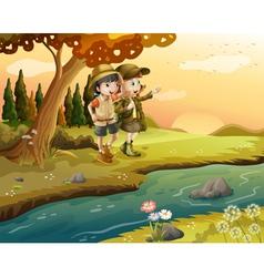 a girl and a boy at riverbank vector image