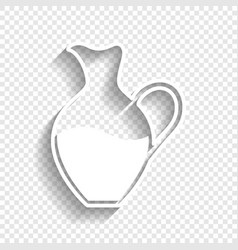 Amphora sign white icon with soft shadow vector