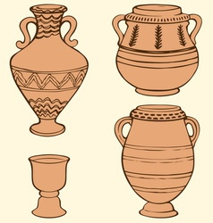 Ancient vases with geometric ornament vector