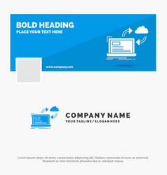 blue business logo template for sync processing vector image