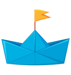 Blue paper boat with yellow flag vector