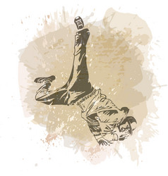 break dance dancer on handcrafted splashes vector image