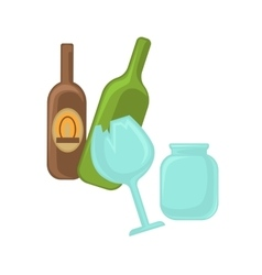 Broken glass jar and green bottle vector