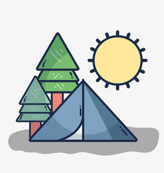 camp with trees and sun vector image