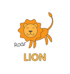 Cartoon lion flashcard for children vector