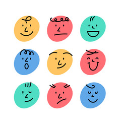 cartoon smile face abstract character happy icon vector image
