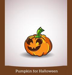 cartoon smiling halloween carved pumpkin vector image