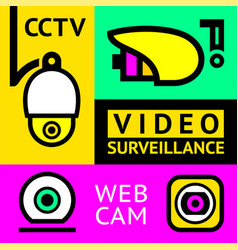 Cctv notice set video surveillance vector