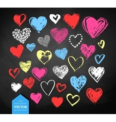 Chalk drawn valentine hearts vector