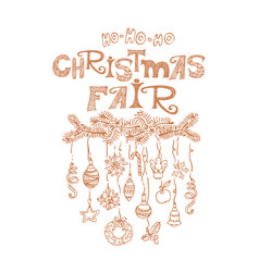 Christmas fair market announcement poster vector