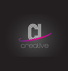 Ci c i letter logo with lines design and purple vector