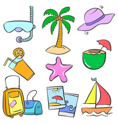 Collection stock summer holiday doodles vector