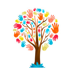 Colorful hand tree for cultural diversity team vector