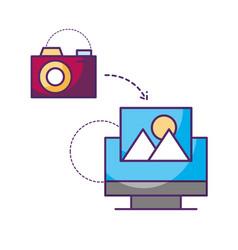 computer camera connection photo data storage vector image