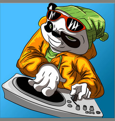 cool panda with sunglasses and hat vector image